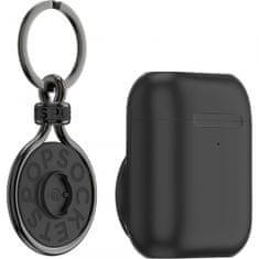PopSockets PopGrip držač za slušalice AirPods Pro, crn + PopChain Gunmetal privjesak