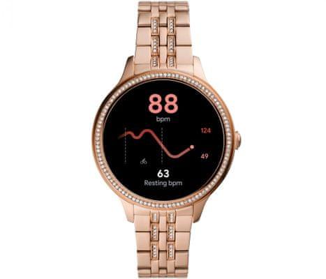 Chytré hodinky Fossil FTW6073 Gen 5E Smartwatch digitální zobrazení času certifikace voděodolnost 3 ATM notifikace z telefonu zvedání hovorů měření tepu krokoměr sledování fyzické aktivity Android iOS dlouhá výdrž baterie smartwatch Wear OS Google Fit AMOLED displej Gorilla Glass monitoring spánku přehled sportovních aktivit nastavitelný vzhled ciferníku GPS Wifi Bluetooth