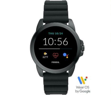 Chytré hodinky Fossil FTW4047 Gen 5E Smartwatch digitální zobrazení času certifikace voděodolnost 3 ATM notifikace z telefonu zvedání hovorů měření tepu krokoměr sledování fyzické aktivity Android iOS dlouhá výdrž baterie smartwatch Wear OS Google Fit AMOLED displej Gorilla Glass monitoring spánku přehled sportovních aktivit nastavitelný vzhled ciferníku GPS Wifi Bluetooth