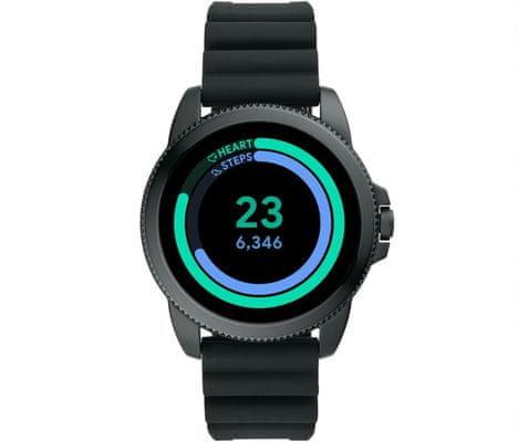 Chytré hodinky Fossil FTW4047 Gen 5E Smartwatch digitální zobrazení času certifikace voděodolnost 3 ATM notifikace z telefonu zvedání hovorů měření tepu krokoměr sledování fyzické aktivity Android iOS dlouhá výdrž baterie smartwatch Wear OS Google Fit AMOLED displej Gorilla Glass monitoring spánku přehled sportovních aktivit