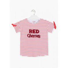Losan Dievčenské tričko s červenými pruhmi LOSAN-LOSAN