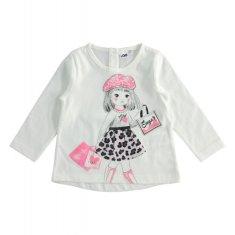 IDO Dievčenské tričko s potlačou smotanové IDO-IDO