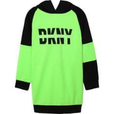 DKNY Dievčenské šaty s kapucňou neónové zelené DKNY-DKNY