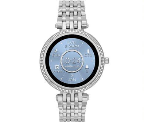 Inteligentné hodinky Michael Kors MKT5126 Darci Gen 5E Smartwatch digitálne zobrazenie času certifikácia vodoodolnosť 5 ATM notifikácia z telefónu zdvíhanie hovorov meranie tepu krokomer sledovanie fyzickej aktivity Android iOS dlhá výdrž batérie smartwatch Wear OS Google Fit AMOLED displej Gorilla Glass monitoring spánku prehľad športových aktivít nastaviteľný vzhľad ciferníka GPS Wifi Bluetooth akcelerometer gyroskop