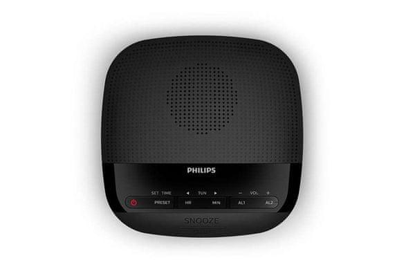 modern vezeték nélküli rádiós óra philips tar3205 fm rádió dab rádió lcd digitális kijelző beépített gombok teljesítmény 200 mw teljes snooze sleep 2 riasztás 10 előre beállított csatorna tartalék akkumulátor hálózati működés