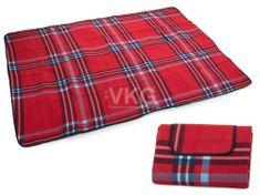 Pikniková deka so spodnou nepremokavou vrstvou 150x200 cm, červená T-028-CV