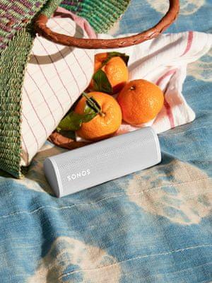 moderní reproduktor sonos roam trueplay funkce bluetooth wifi technologie apple airplay 2 výborný zvuk odolný vodě nárazům prachu výdrž 10 h na nabití qi nabíjení