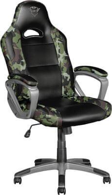Herní židle Trust GXT 717 Rayza, nastavitelná výška sedu, nastavitelný úhel opěradla, podpěra beder a krku