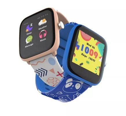 Chytré hodinky Vivax Smart watch LifeFit HERO kids hodinky pro děti dotykový barevný displej nastavitelný vzhled ciferníku notifikace z telefonu monitorování srdečního tepu, měření tělesné teploty, monitoring spánku a fyzických aktivit hry se vzdělávacím obsahem sportovní režimy IP68 voděodolné prachuvzdorné silikonový pásek hravý design