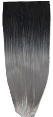 Vipbejba Flip-in/neviditeľné syntetické predĺženie vlasov, rovné, typ ombre - farba čierna a sivá S1