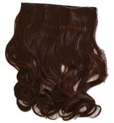 Vipbejba Flip-in/neviditeľné syntetické predĺženie vlasov, kučeravé, čokoládovo hnedé #4/F3