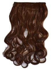 Vipbejba Flip-in/neviditeľné syntetické predĺženie vlasov, kučeravé, gaštanovo hnedé 30T33