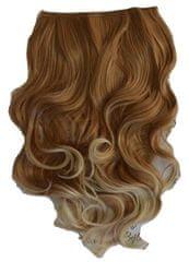 Vipbejba Flip-in/neviditeľné syntetické predĺženie vlasov, kučeravé, farba svetlá blond s hnedými prameňmi F16