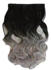 Vipbejba Flip-in/neviditeľné syntetické predĺženie vlasov, kučeravé, typ ombre - farba čierna a sivá S1
