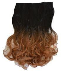 Vipbejba Flip-in/neviditeľné syntetické predĺženie vlasov, kučeravé, typ ombre - farba čierno-zlatá a hnedá Y9