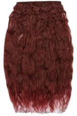 Vipbejba Sintetični clip-on lasni podaljški na 1 zaveso, izredno skodrani, vinsko rdeči F38