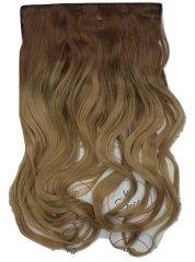 Vipbejba Syntetické clip-in vlasy na 1 páse, kučeravé, typ ombre – farba hnedá a tmavá blond, 12+27/613