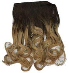Vipbejba Syntetické clip-in vlasy na 1 páse, kučeravé, typ ombre - farba tmavo hnedá a tmavá blond, 8+27/613