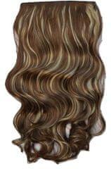 Vipbejba Syntetické clip-in vlasy na 1 páse, kučeravé, farba svetlo hnedá s blond prameňmi