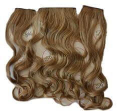 Vipbejba Syntetické clip-in rozšírenie vlasov na 3 pásoch, kučeravé, farba tmavá blond 18TT27