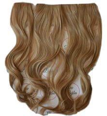 Vipbejba Syntetické clip-in vlasy na 3 pásoch, kučeravé, farba svetlá blond s hnedými prameňmi F16