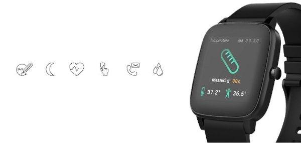 Chytré hodinky Vivax Smart watch LifeFit dotykový barevný displej nastavitelný vzhled ciferníku 30 vzhledů ciferníku notifikace z telefonu monitorování srdečního tepu, měření tělesné teploty, monitoring spánku a fyzických aktivit sportovní režimy IP68 voděodolné prachuvzdorné silikonový pásek