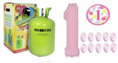 Helium sada 1.NAROZENINY VELKÁ OSLAVA HOLKY + 10 ks latexových a 2 ks fóliových balónků