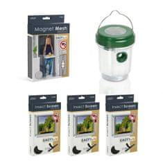 Delight  Paket proti komarjem – magnetna mreža proti komarjem za vrata črna 210x100cm + 3x komarnik za okno 150×150cm črn + UV LED solarna past za insekte