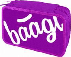 Baagl Školní penál dvoupatrový Logo růžový