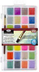 Royal & Langnickel Akvarelové barvy perleťové, 28 ks + štětec