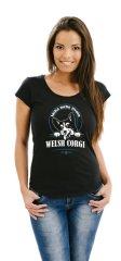 STRIKER Dámské tričko welsh corgi Barva: Černá, Velikost: S