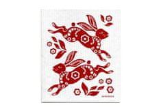 Jangneus handra do kuchyne červené králiky 18x 20cm