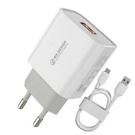 WK Design WP-U57 hálózati töltő adapter 2x USB QC 3.0 18W 2.4A + Lightning kábel, fehér