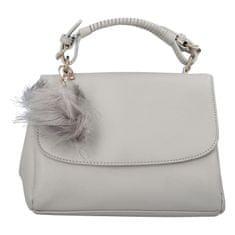BELLA BELLY Luxusná dámska kabelka do ruky s bambuľkou Joanna, sivá