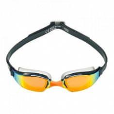 Michael Phelps Plavecké okuliare Xceed tm. sivá / oranžová titánovo zrkadlový zorník oranžová