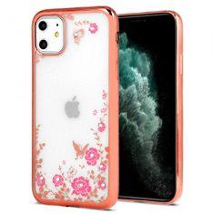 Futrola s cvijećem za iPhone 12/12 Pro, silikon, roza