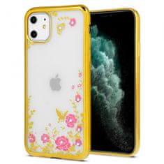 Futrola s cvijećem za iPhone 12/12 Pro, silikon, zlatna