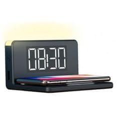 Ksix budilica s bežičnim punjačem, LED, Qi, 7,5 W/10 W, crna