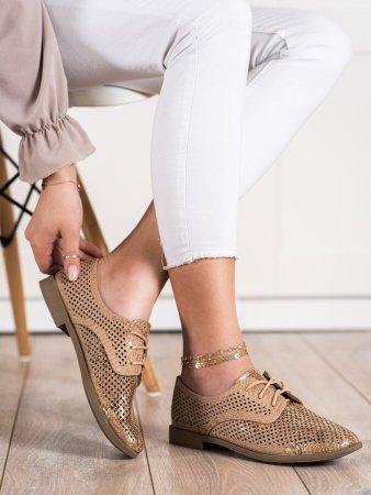 Női félcipő 70486 + Nőin zokni Gatta Calzino Strech, bézs és barna árnyalat, 41