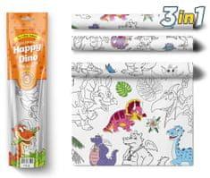 PEXI Maľovacie obrusy 3 ks - Šťastní Dinosaury (Happy Dino)