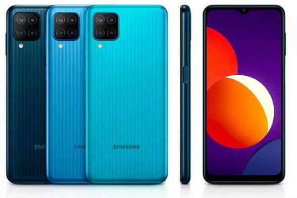 Samsung Galaxy M12 veľký displej 6,5 palcový PLS IPS displej HD+ 90 Hz obnovovacia frekvencia dlhá výdrž veľkokapacitné batérie 5000 mAh rýchlonabíjanie 15W výkonný procesor Exynos 850 štvornásobný fotoaparát ultraširokouhlý makro hĺbkový objektív čítačka odtlačkov prstov NFC 4GB RAM Bluetooth 5.0 Android 11 One UI 3.1 elegantný dizajn bezrámový displej