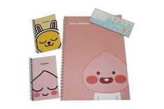 KAKAO Friends Kancelársky Set – 1 x Špirálový zápisník, 2 x Vreckový zápisník (Apeach, Muzi) & 1x Malé samolepiace poznámkové bločky