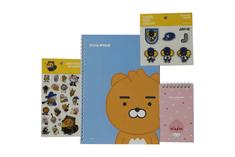 KAKAO Friends Kancelársky Set – 1 x Špirálový zápisník, 2 x Nálepky, 1 x Vreckový zápisník