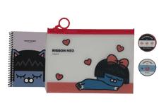 KAKAO Friends Kancelársky Set – 1 x PVC Puzdro, 1 x Maskovacia páska, 1 x Dekoračná páska, 1 x Vreckový zápisník