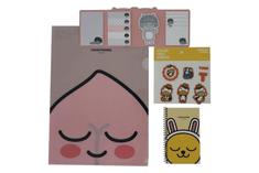 KAKAO Friends Kancelársky Set – 1 x Nálepky, 1 x Obal na dokumenty, 1 x Vreckový zápisník, 1 x Samolepiace bločky