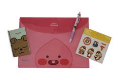 KAKAO Friends Kancelársky Set – 1 x Nálepky, 1 x Obálka na dokumenty, 1 x Vreckový zápisník, 1 x Trojfarebné pero