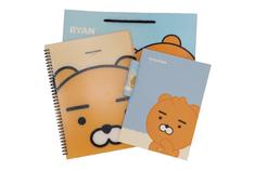KAKAO Friends Kancelársky Set – 1 x Linajkový zošit, 1 x Lepidlo, 1 x Nákupná taška, 1 x Zakladač na dokumenty