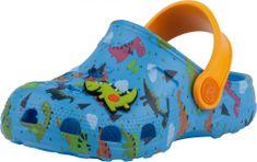 Coqui kapcie chłopięce Little Frog Lt. blue/Lt. orange dino + amulet