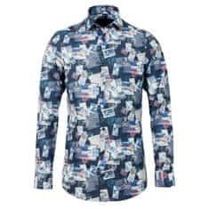 STEVULA Stamp print pánska košeľa, Body fit