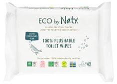 ECO by Naty ECO vlhčené splachovatelné ubrousky s funkcí toaletního papíru bez vůně (3x 42 ks)